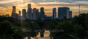 Houston Skyline Sunrise Buffalo Bayou